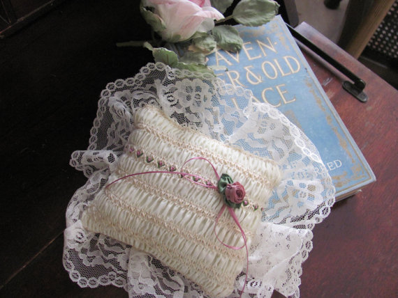 Wedding - Lacy Ring Bearers Pillow with Rose and wide Lace