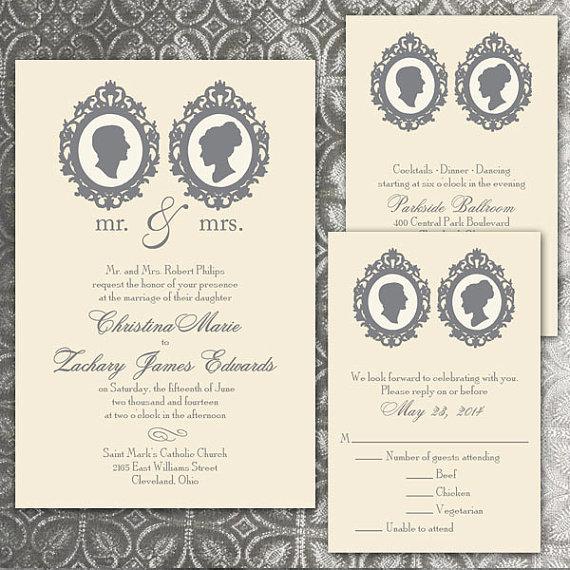 Custom Silhouette Wedding Invitations