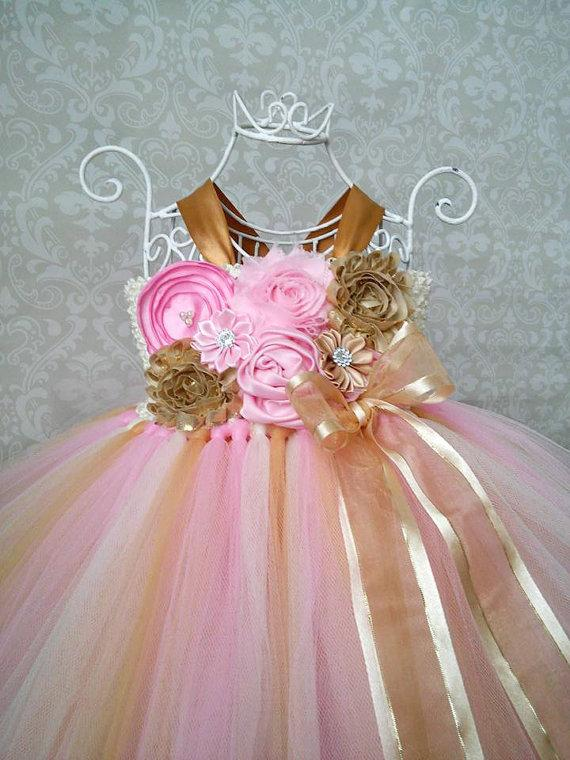 Wedding - Pink and Gold Birthday Tutu Dress, Pink and Gold 1st Birthday Dress, Pink and Gold Flower Girl Dress