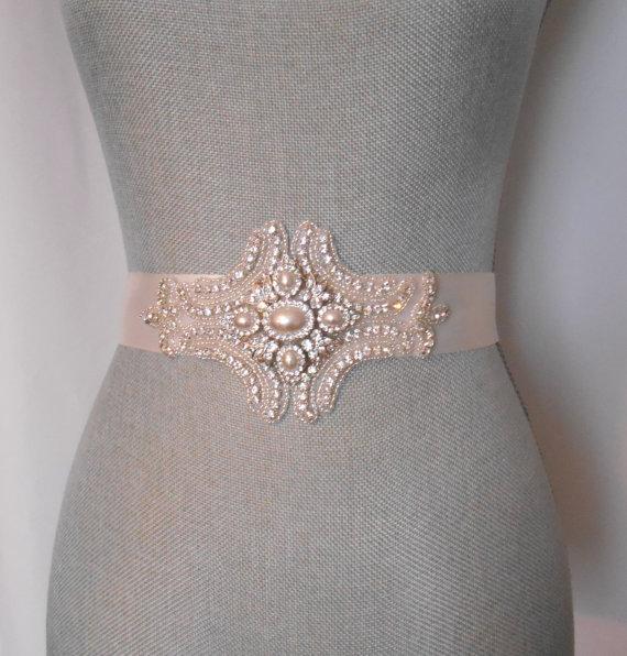 Mariage - Bridal Sash, Evening Beaded Sash Formal  Wedding Dress Sash, Rhinestone and Crystals Sash Belt Crystals and Satin Tie. A Beautiful Sash