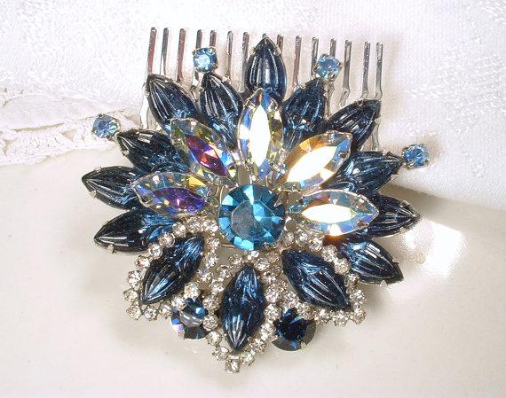 Свадьба - Bridal Hair Comb or Sash Brooch Sapphire Blue Rhinestone Silver Flower Pin or HeadPiece Navy Crystal Vintage Wedding Hair Accessory Haircomb