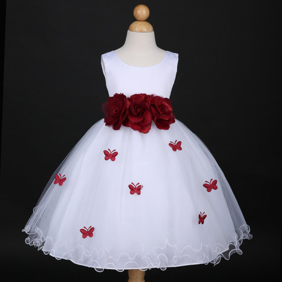 f9cdc36de5b White with burgundy butterfly petal baby Infant easter party wedding flower girl  dress 6M 12m 18m 2 4 6 8 10 F14WH