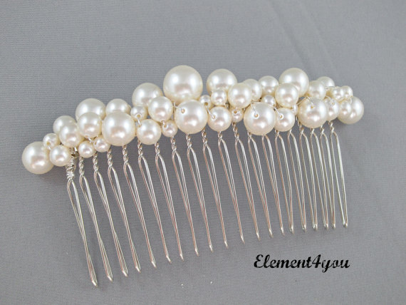Свадьба - Bridal comb pearl Hair Accessories Wedding hair piece Swarovski white or ivory pearls Beaded silver comb Veil attachment Tiara Fascinator