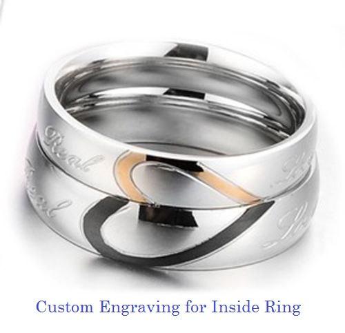 Custom Engraving Heart Shape Stainless Steel 2 Pcs Couples Ring Set