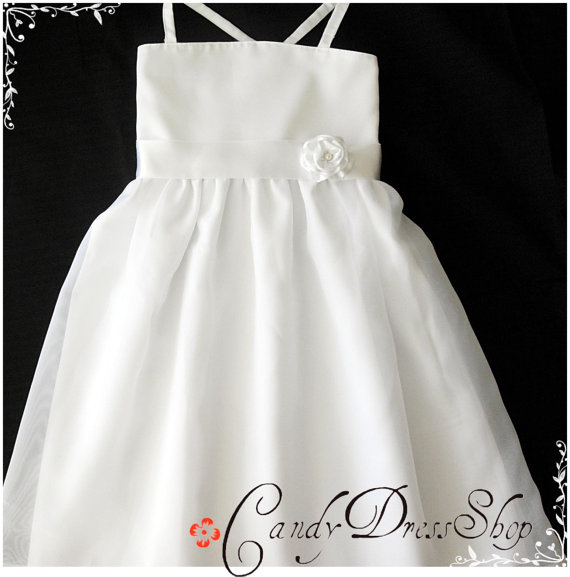 زفاف - White Flower girl dress , Satin and organza dress for girls , cute design for girls ,girls white dress / with headband-Birthday dress