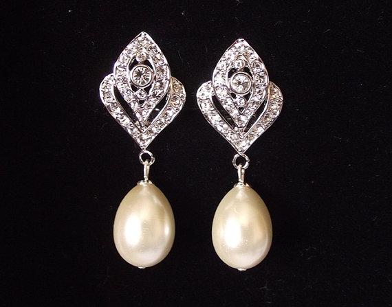 Bridal Earrings Pearl Wedding Vintage Style Jewelry Clip On Ivory Drop