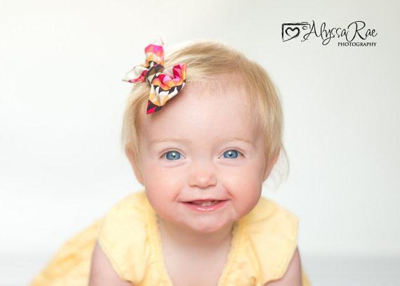 Свадьба - Fabric Bow Tie Fall Autumn Brown Orange Pink Headband Clip - Wedding - Ring Bearer - Photo Prop - Newborn Infant Baby Toddler Girl Boy