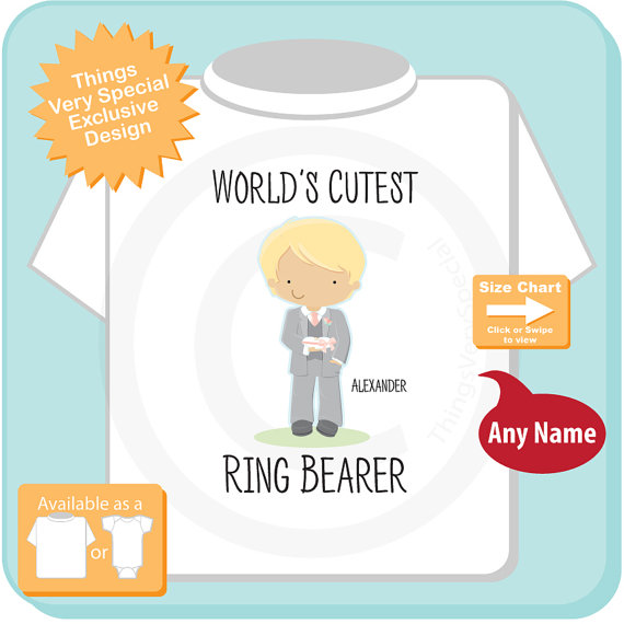 Mariage - World's Cutest Ring Bearer Shirt or Onesie Bodysuit, Personalized Infant, Toddler or Youth Tee Shirt with cute little boy (07172015c)