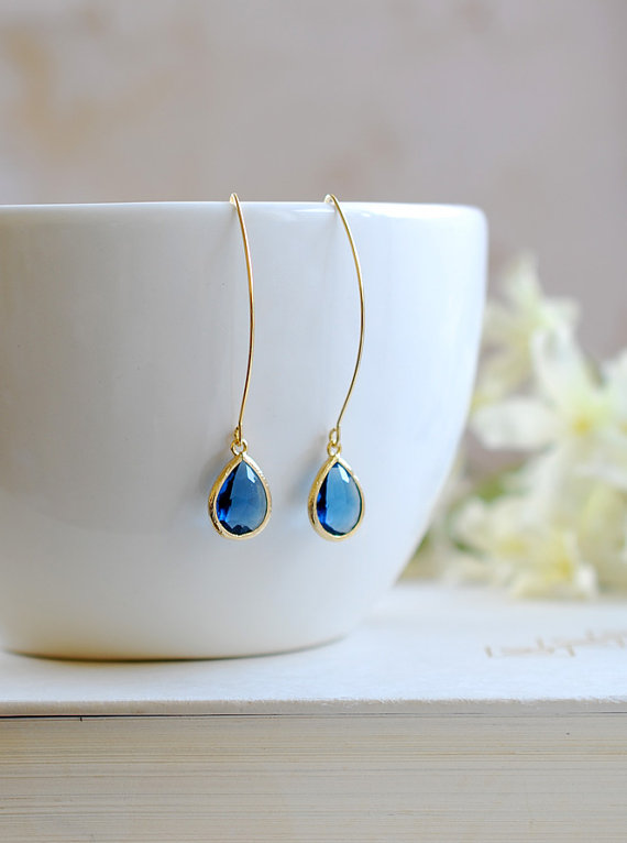 زفاف - Montana Blue Drop Earrings Gold Navy Blue Sapphire Blue Teardrop Long dangle Earrings Bridal Jewelry Bridesmaid Gift September Birthstone