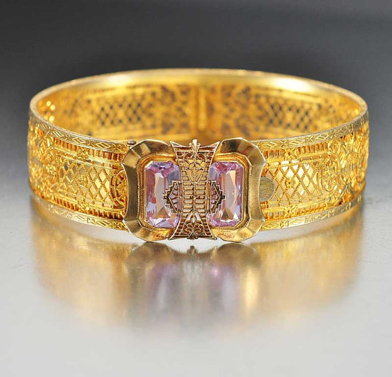 Alexandrite Art Deco Bracelet Gold Filigree Bangle Purple Blue