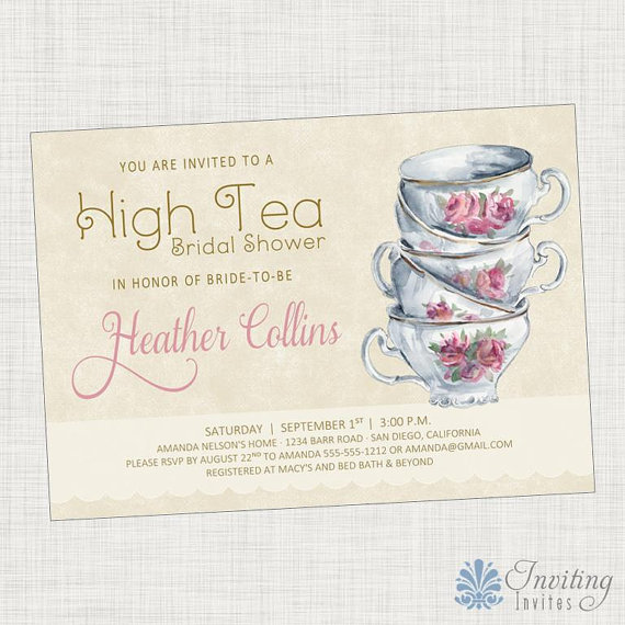 Vintage Tea Cup Bridal Shower Invitation Baby Shower Invitation