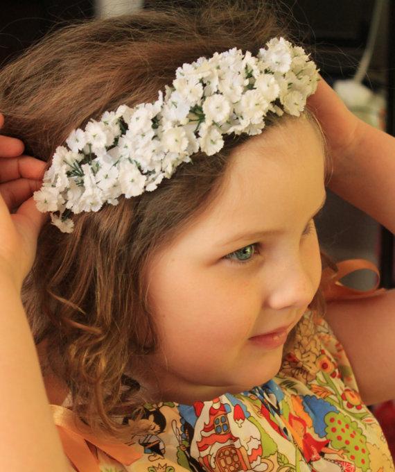 Babys Breath Crown. Floral headband. Flower Girl Headband. Bridal Headpiece.  Wedding elastic headband. Newborn Photo Prop. 402cc0008d3