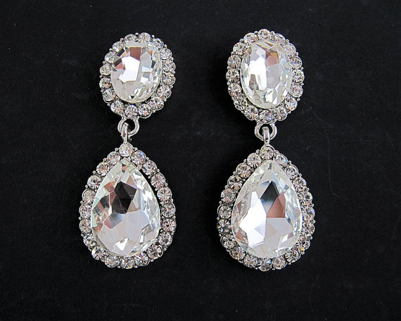 Wedding - Rhinestone drop earrings,  Dangle crystal earrings, Bridal  earrings, Wedding earrings.Dangle earrings
