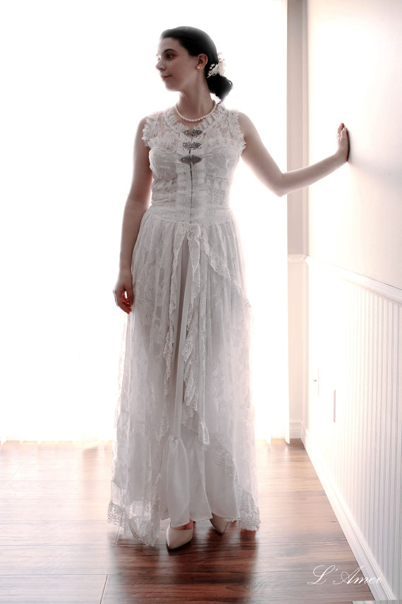 Vintage retro victorian style custom made lace wedding for Victorian style wedding dress