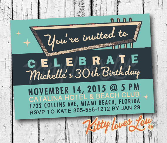 PRINTABLE Birthday Party Invitation DigitaL PDF Bridal Couples Shower Bachelorette Vintage Retro Invite Turquoise Bachelor Diy