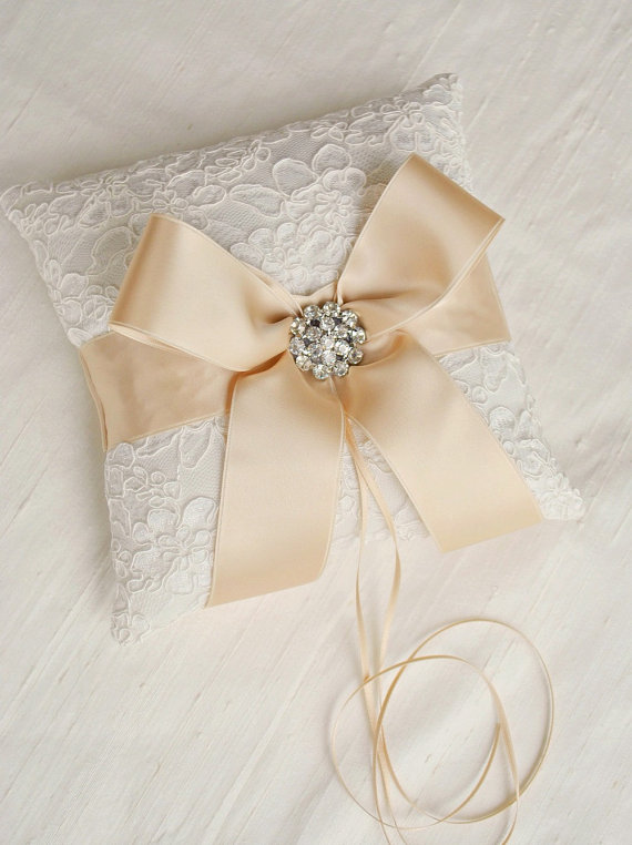 Свадьба - Ivory and Champagne Ring Bearer Pillow - Alencon Lace Ring Bearer Pillow with Rhinestones