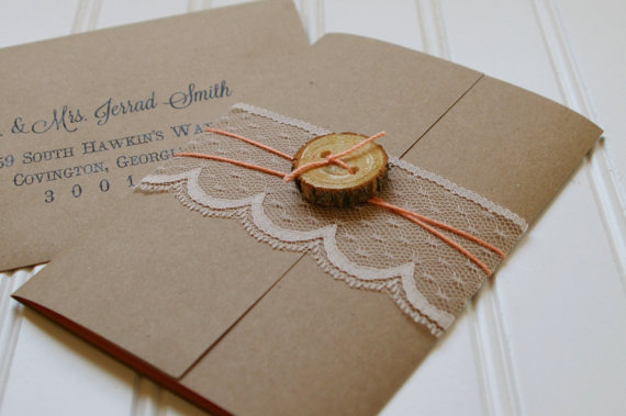 Rustic Wood Slice And Lace Wedding Invitations: Unique Handmade Rustic  Paper Invites. Rustic Wedding. Custom. Shabby Chic Wedding.
