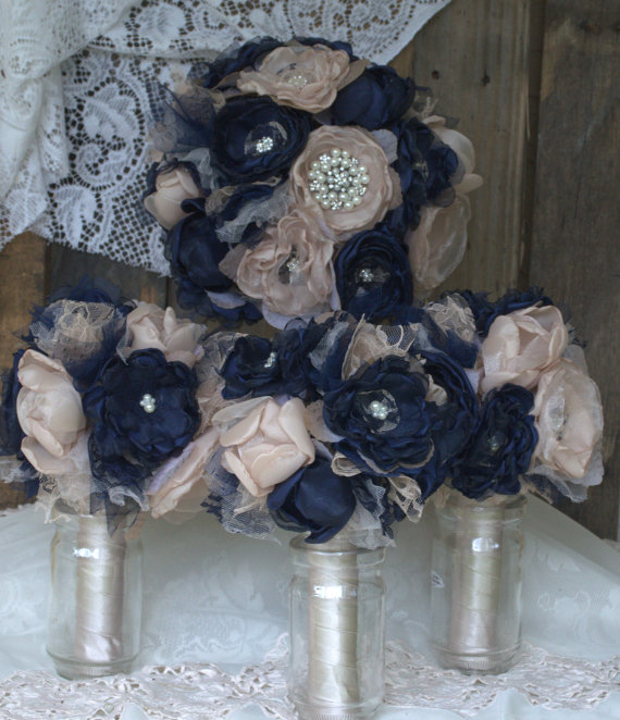 Alternative Bridal Bouquet Package Navy Blue And Champagne ...