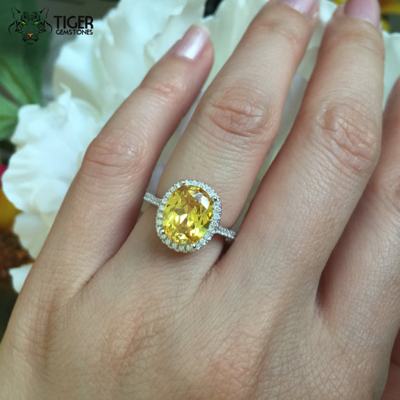 3.25 Carat, Oval Halo Engagement Ring, Canary Yellow and White Man Made  Diamond Simulants, Art Deco, Wedding, Bridal Ring, Sterling Silver
