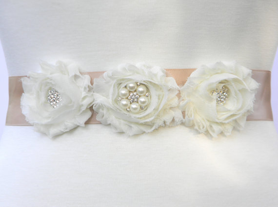 Mariage - Champagne Flower Girl Dress Sash, Bridesmaid Pearl and Crystal Rhinestone Bridal Wedding Belt, Shabby Flower Sash & Hair Clip Set, IVY