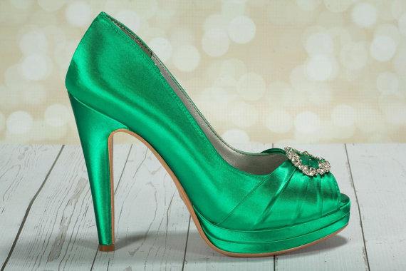 Wedding - Emerald Green Wedding Shoes- Green Irish Wedding Platform Heels With Crystal - Choose From Over 100 Colors- Open Toe Platform Wedding Heels
