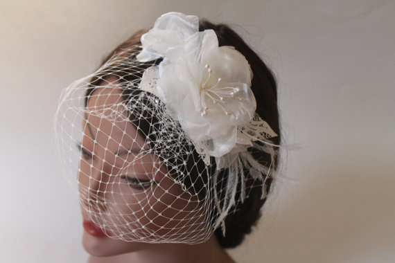 Wedding - Bridal Birdcage Veil Flower Fascinator with Ostrich Feathers, Lace, Wedding Headpiece, Wedding Accessories