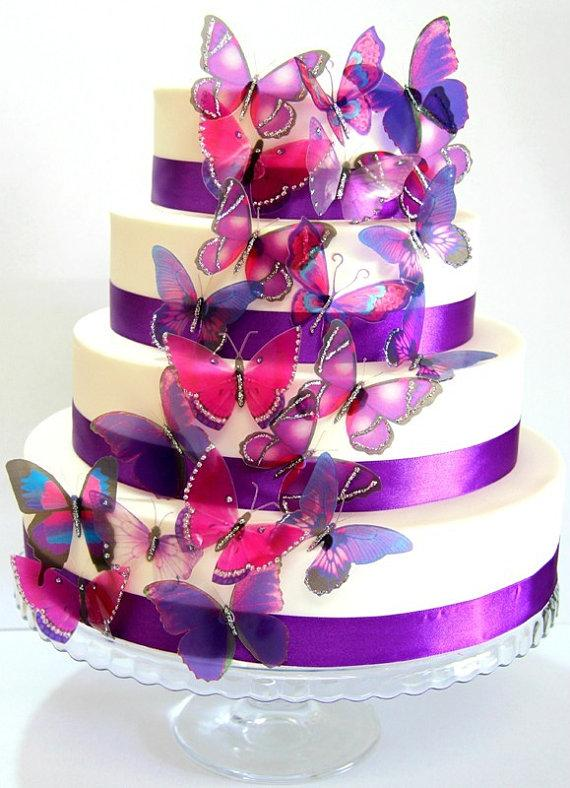 50 X Mixed Purple Stick On Butterflies, Wedding Cake Toppers ...