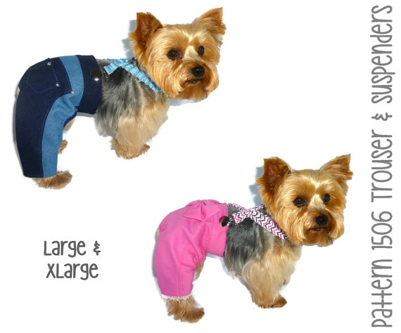 Свадьба - Dog Jeans Pattern 1506 * Large & XLarge * Dog Clothes Pattern * Dog Pants Pattern * Dog Trousers * Dog Suspenders * Dog Apparel * Dog Outfit