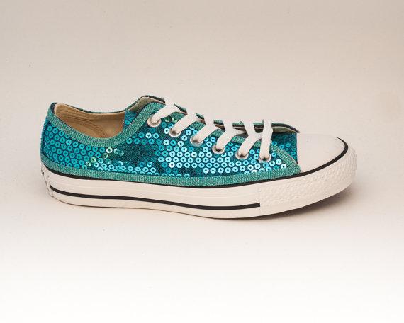زفاف - Sequin Sky Blue Canvas Converse Low Top Sneakers Shoes