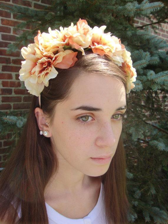 Cream Ombre Floral Crown Headband Silk Flower Wreath Wedding Bridal