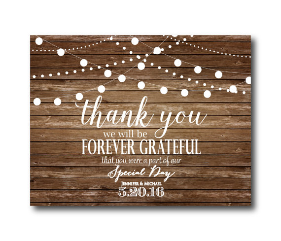 Rustic Wedding Thank You Card Country Chic Hanging Lights