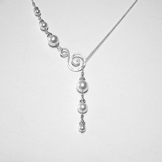 Mariage - Drop Pearl Necklace, Lariat Necklace, Pearl and Crystal Necklace, Sterling Silver Wedding Jewelry, Swarovski Pearl Necklace, Swirl Necklace