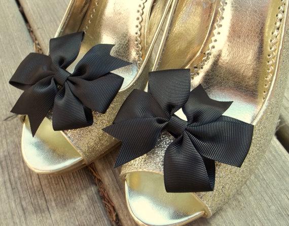 زفاف - Wedding Shoe Clips, Bridal Shoe Clips, Bow Shoe Clips, Black Shoe Clips, Black Grosgrain Bows, Shoe Clips for Wedding Shoes,