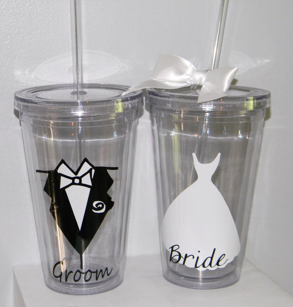 Wedding - Wedding Gift Tumblers Bride Groom Bridesmaid Flower Girl Ring Bearer- Any Color Any Design Custom