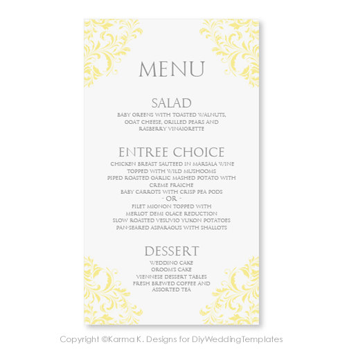 Wedding Menu Card Template - DOWNLOAD INSTANTLY - Edit