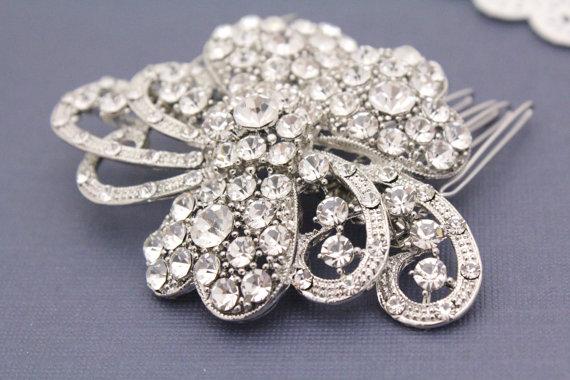 Mariage - Bridal hair jewelry wedding hair comb Rhinestone hair comb Crystal wedding comb bridal hair accessory wedding headpiece bridal hair comb