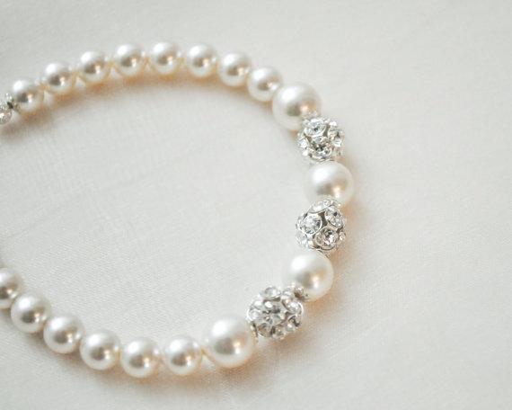 زفاف - Bridal Bracelet, Pearl Bridal Bracelet, Swarovski Rhinestone Bridal Bracelet, Bridal Jewelry Bracelet