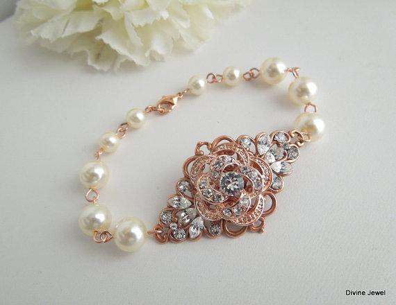 زفاف - Rose Gold Bracelet,Rose Gold Rhinestone Cuff,Ivory Or White Pearls,Pearl and Rhinestone Wedding Bracelet,Bridal Jewelry,Pearl,Rose,ROSELANI