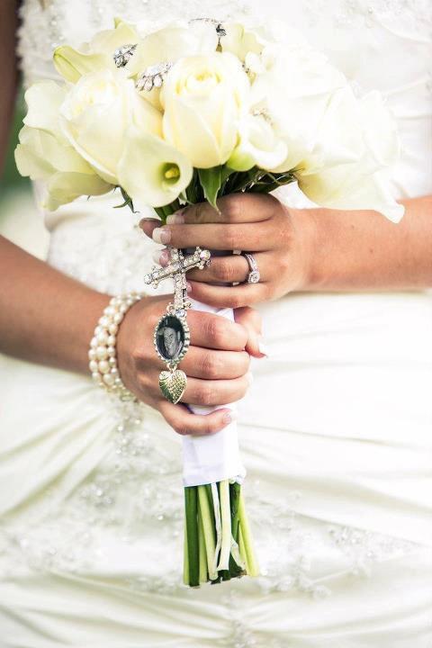 Wedding - Custom Personalized Photo Bottle Cap Wedding Bouquet Charm for something treasured