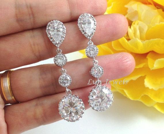 زفاف - Wedding Earrings - Long Cubic Zirconia Bridal Bridesmaids Round Sparkly Earrings - Prom Formal Jewelry