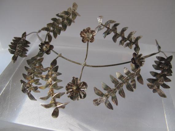 Hochzeit - Antique German Wedding MYRTLE FLOWER Crown Headpiece Tiara of Silver Flowers/Floral Garden Headdress/Wedding Bridal Marriage Floral Crown