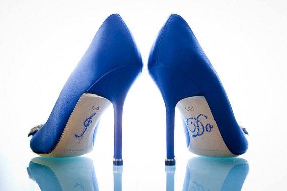 "Mariage - ROYAL BLUE ""I Do"" Shoe Rhinestone Applique"