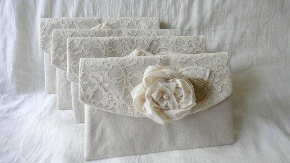 Hochzeit - 5 Wedding Purses Burlap and Lace Clutch Bridesmaid Clutches Peony Flower Purse Rustic Chic Wedding Bridesmaid Gift Idea
