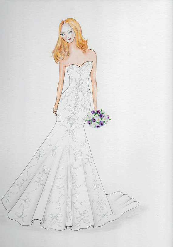 Custom bride portrait original bride in wedding dress for How to draw a wedding dress