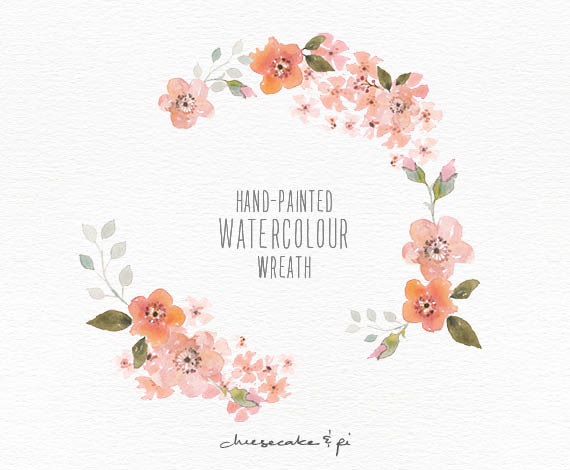 Watercolor Wreath: 1 PNG Floral Clip Art / Wedding Invitation Clip Art /  Commercial Use / Peach Blossom / CM0063a