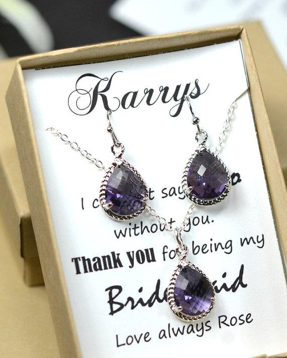 Свадьба - Purple bridesmaid jewelry , purple bridesmaid gift ,Wedding bridal jewelry,bridesmaid gifts,Purple Earrings & Necklace SET ,Drop, Dangle