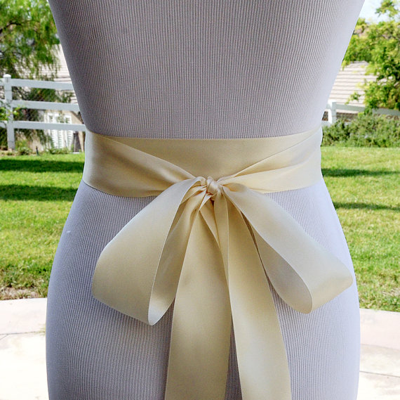 Свадьба - Ivory Satin Ribbon Sash Belt Ribbon Sash Belt bridesmaid Sash Belt Ivory Ribbon Belt or Pick YOUR Color SA009LX