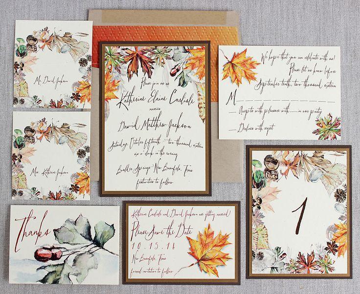 Fall Color Wedding Invitations: Autumn Foliage Watercolor Wedding Invitation Antique Gold