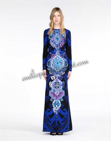 Wedding - EMILIO PUCCI Gown Blue Royal Print Long-Sleeves Dress
