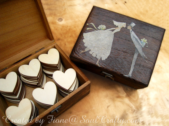 Wedding - Big Dark Rustic Box Wooden Hearts for Wedding Guest's Cards Advice or Wooden box Advise Box GuestBook Alternative Jewelry Box Gift Box